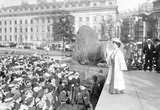 Emmeline Pankhurst addressing crowds at Trafalgar Square; 1908