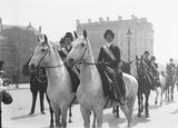 Mounted Suffragettes in a procession: 1909