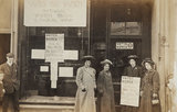 Women members standing outside a Women's Social and Political Union shop; 1909