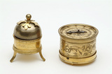 Detachable alarm bell (left) ; Cylindrical gilded clock (right) :  mid-late 16th century