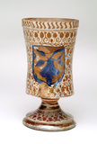 Front of a goblet shaped white jug: 16th century