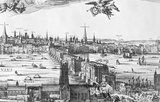 Detail of a Victorian etched 'facsimile' of 'London' dated 1616