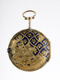 Reverse of a gold and enamel cased cylinder watch: 18th centrury