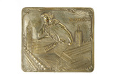 Brass-plated belt buckle with 'Haunted House' motif: 1908