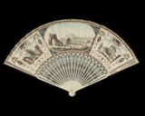 Kid leaf fan with Roman ruins: 18th century