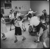 A school music and movement class: 1957
