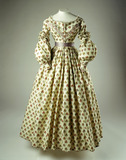 Printed wool challis dress: 1838