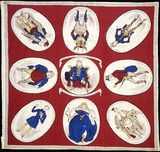 Printed handkerchief with caricature of George IV: 19th century
