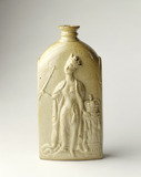 Commemorative stoneware spirit flask: 1837