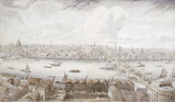 New London Bridge and the City from the tower of Southwark Cathedral: 1835