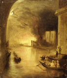 The burning of the House of Commons, 16th October 1834, seen from the river