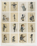 A Lesson in Colouring - sixteen caricatures of musicians: 19th century