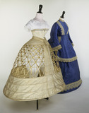 Wedding dress ensemble with underskirt and corset: 19th century