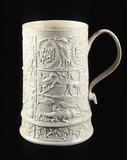 Moulded stoneware mug: 18th century
