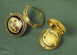 Gold and enamel pair of cased watches: 18th century