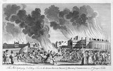 The mob, destroyed and setting fire to the King's Bench prison and House of Correction in St George's Fields: 18th century