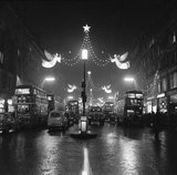 The Regent Street Christmas lights at night: 1960
