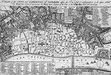 A plan of the City and Liberties of London after the dreadful conflagration in the year 1666: 1756