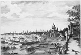 A view of the barges conducting his Danish Majesty from Whitehall: 1768