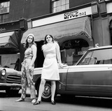 Models outside Spice boutique, Knightsbridge: 1965