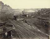 Construction site to the west of Waterloo Bridge: 1866-1870