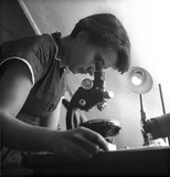 Rosalind Franklin at work in a laboratory: 1954