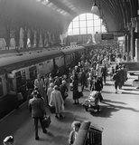 A busy platform at Kings Cross Station: 1955-1957