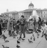 Woman with Pigeons in Trafalgar Square: 1979