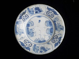 Tin-glazed earthenware plate: 1671-1690
