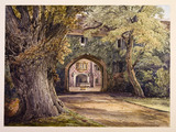 The ancient archway and fountain at the entrance to Fulham Palace