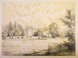 A view of Addington Palace hidden behind trees and surrounded by a small wall