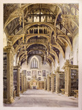 An Interior view of the library at Lambeth Palace, showing bookshelves and elaborate roof