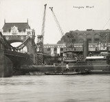 Thames Riverscape showing Tower Bridge and Irongate Wharf: 1937
