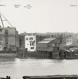 Thames Riverscape showing the Alderman Stairs, the Late Cock and Lion Public House and Carron Wharf: 1937