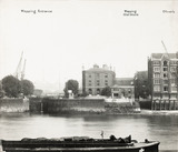 Thames Riverscape showing Wapping Entrance, Wapping Old Stairs and Oliver's Wharf : 1937