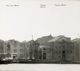 Thames Riverscape showing New Sun Wharf, Vanes Wharf and Oporto Wharf: 1937