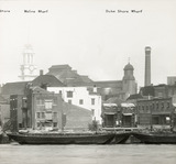 Thames Riverscape showing Moline Wharf and Duke Shore Wharf: 1937