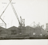 Thames Riverscape showing Victoria Wharf: 1937