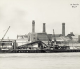 Thames Riverscape showing Locke's Wharf and St. David's Wharf: 1937