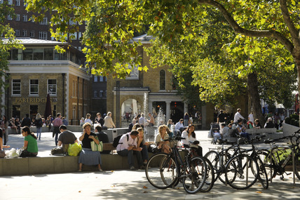 People enjoying the Duke of York Square; 2009