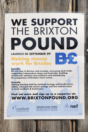 Poster for the Brixton Pound; 2009