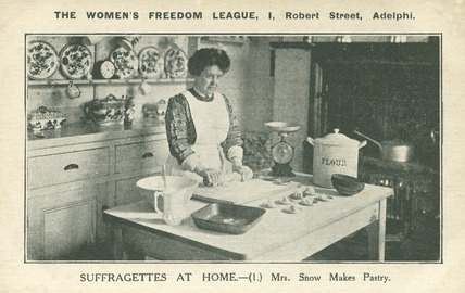 Postcard, Mrs Snow makes pastry; 1908-1914