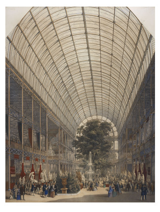 Looking down the transept of Crystal Palace; 1851