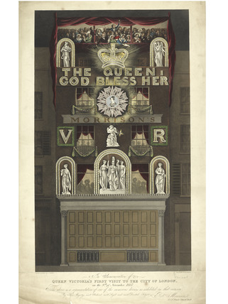 Print to commemorate Queen Victoria's visit to London; 1837