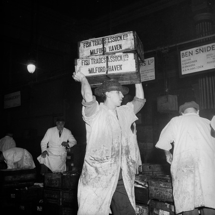 A Porter at Billingsgate Fish Market: c.1955