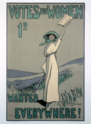 A poster advertising the weekly suffragette newspaper Votes for Women: 1909