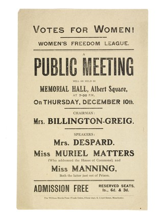 Leaflet advertising a Public Meeting at Memorial Hall, Albert Square, Manchester, on Thursday 10 December: c. 1908-1915