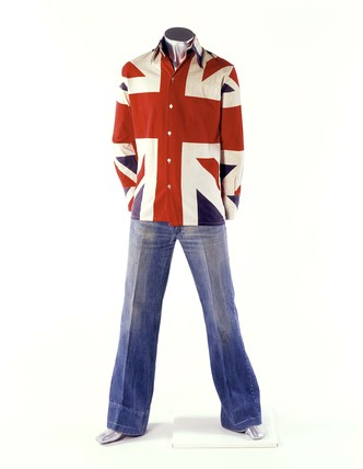 A man's fitted shirt printed with the Union Jack pattern; 1966-1967