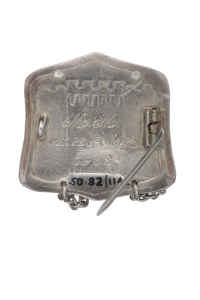 Silver badge presented to Muriel Matters by the Women's Freedom League on her release from Holloway prison: 1908