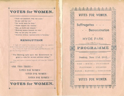 Programme for Women's Sunday: 1908